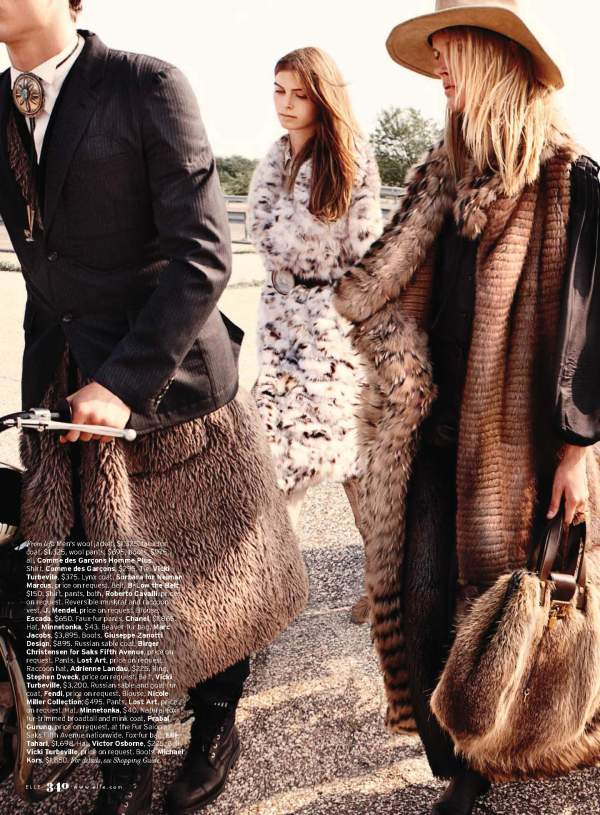 models Pamela Bernier, Lauren Brown, Elena Lazic, Lindsay White, Tabea Koebach, and Simon Nessman by Kt Auleta Styled by Kate Lanphear for US Elle November 2010