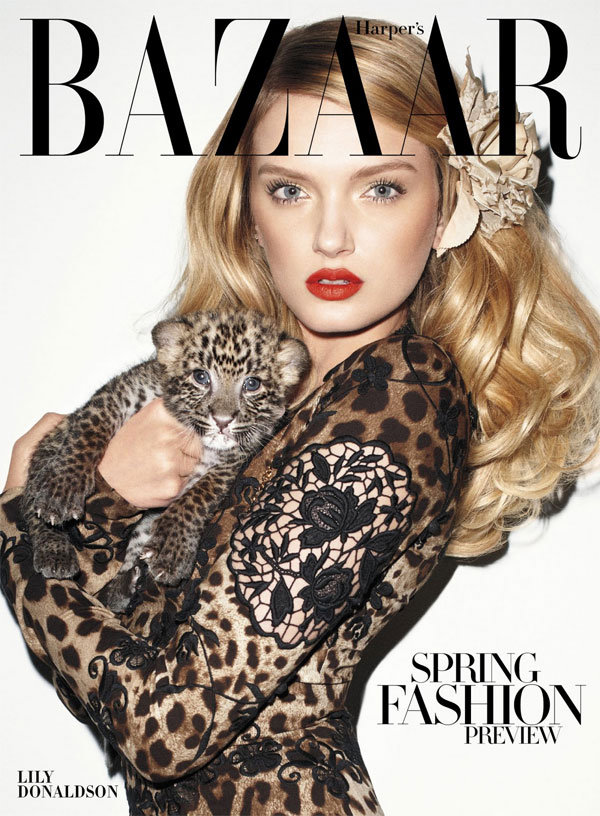 model Lily Donaldson, Harper's Bazaar US January 2011, photographer Terry Richardson, baby leopard cub