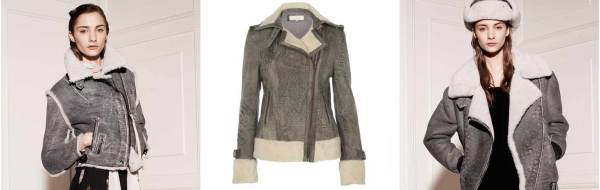 River Island grey leather boyfriend aviator jacket, CLASSIC BIKER LEATHER JACKET RITA shear, OVERSIZED SHEARLING AVIATOR JACKET velocite, Acne studio