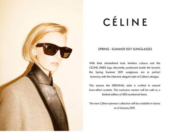 Celine Original Style Sunglasses Spring 2011 Horn effect