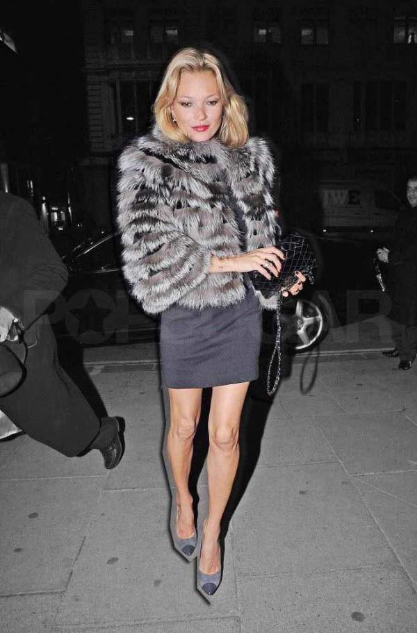 kate moss on a night out, fashion icon, fur coat