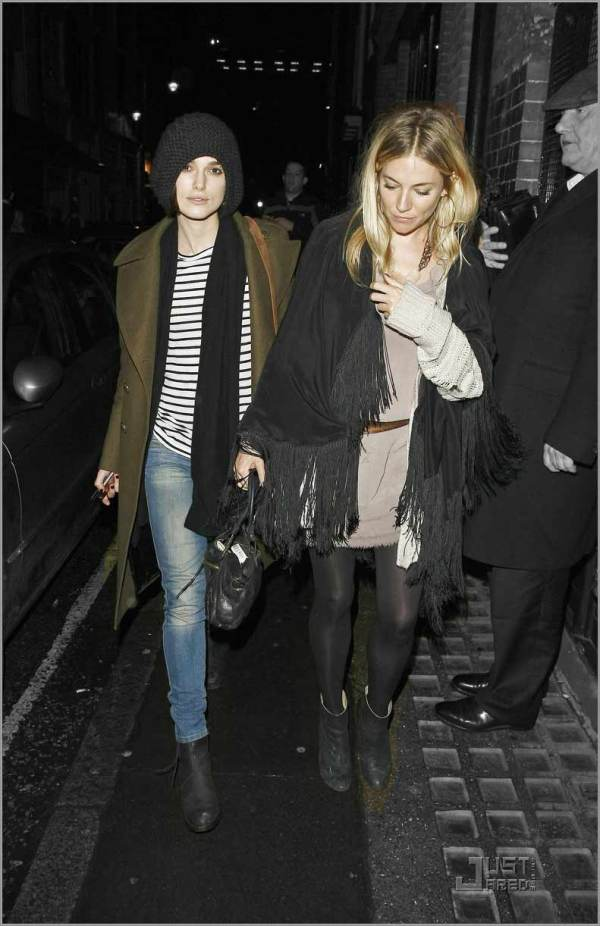 Keira Knightley & Sienna Miller, out to dinner, fashion famous,