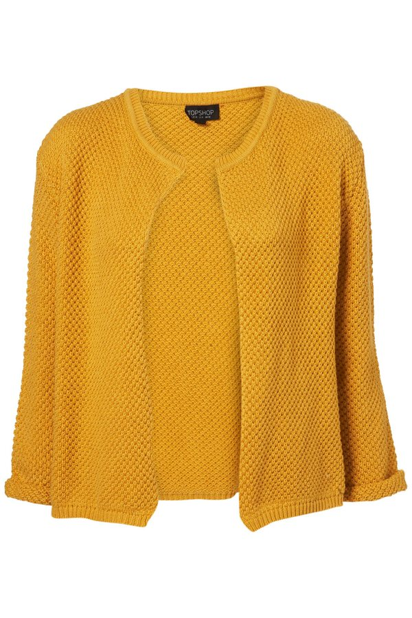 Mustard Knitted Stitch Open Cardigan Topshop, Christpher Kane S/S 2011