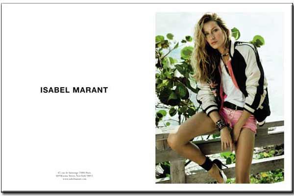 Gisele Bundchen for Isabel Marant Spring Summer 2011 advertising campaign
