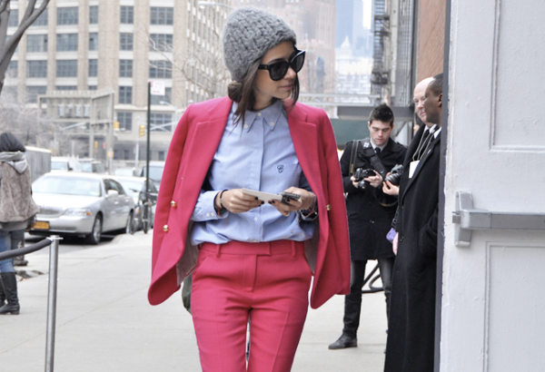 chloe chambray shirt, pink suit, photograph by tommy ton