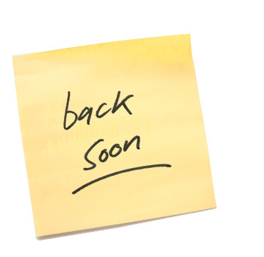 back soon post-it note