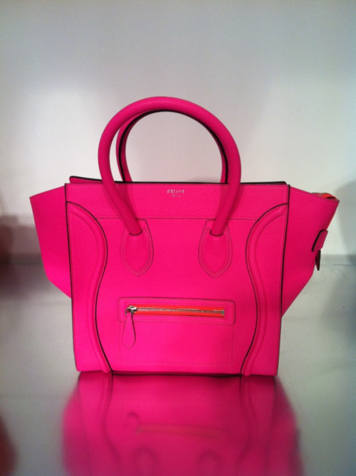 Celine luggage tote in neon pink, celine resort 2012 accessories bags