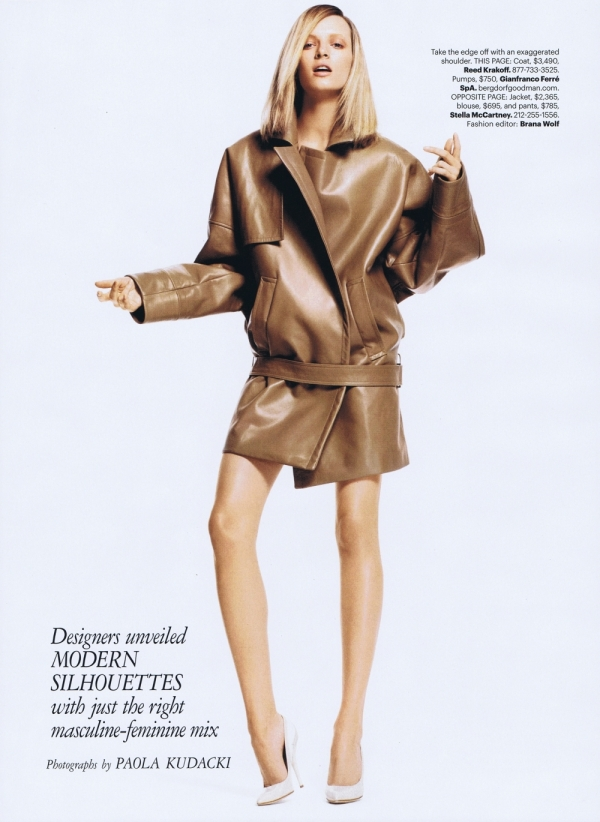 Daria Strokous, Reed Krakoff A/W 2011 coat, oversize cocoon shape trend, paola kudacki, US HARPER'S BAZAAR, june 2011