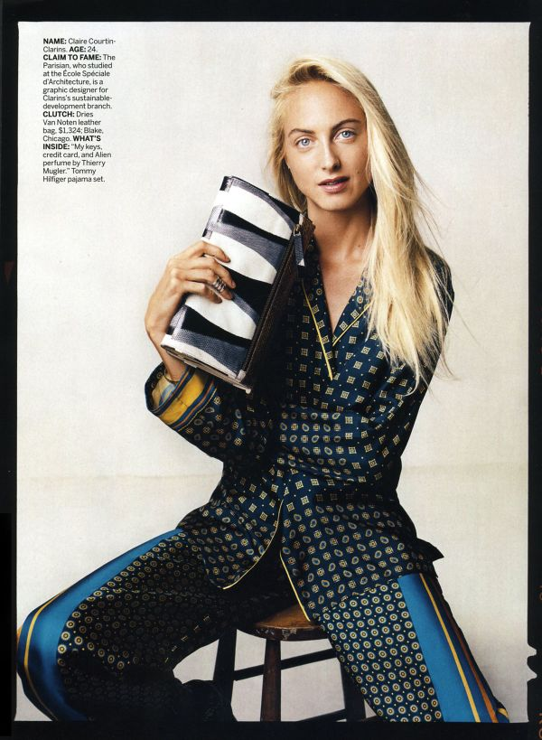 Claire Courtin-Clarins, Dries Van Noten clutch, US Vogue July 2011, Tommy Hilfiger pyjamas, pajama set