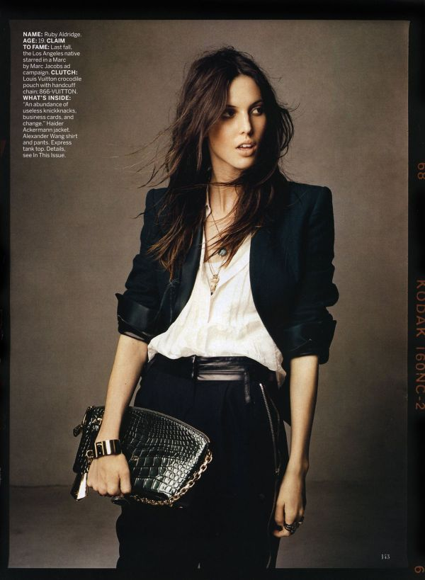 Ruby Aldridge, Louis Vuitton handcuff clutch, Vogue US,