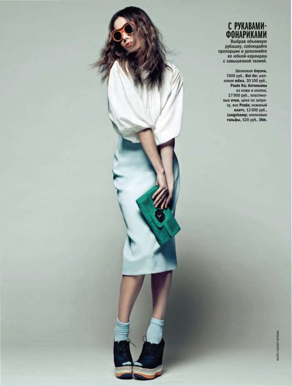 Ilze Bajare by Honer Akrawi Glamour Russia pencil skirts, blouse fashion trends