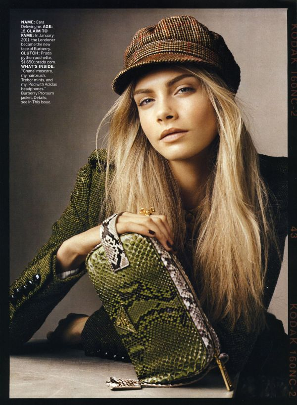 Cara Delevingne, Prada clutch, US Vogue July 2011