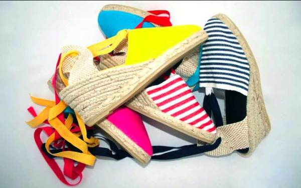Toni's Got Sole, 100% cotton and raffia, ankle tie wedges and slip on espadrilles