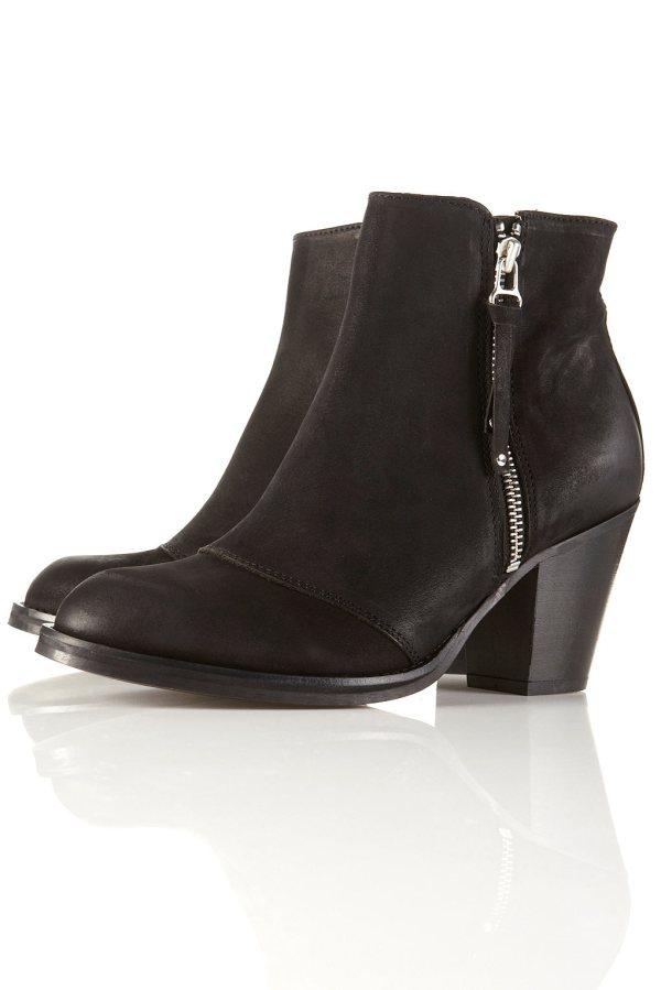 AMBUSH Black Side Zip Ankle Boots Topshop, Acne Pistol boots,