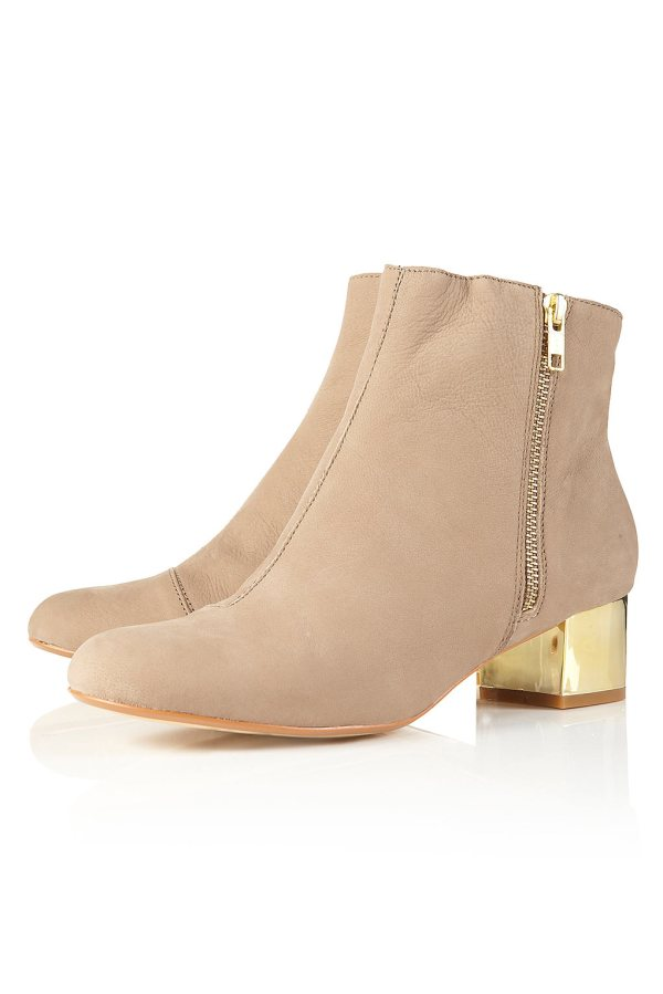 ADORN Taupe Gold Block Heel Ankle Boots, Topshop