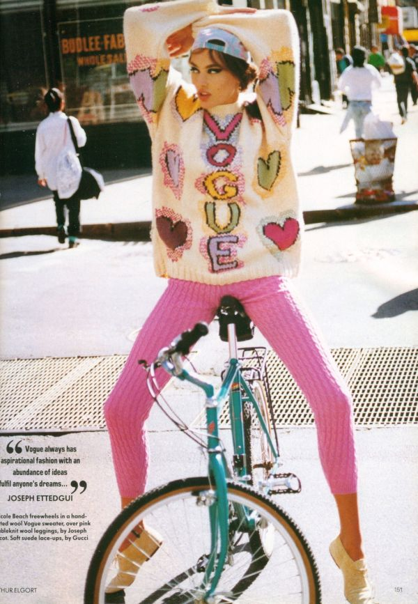 Vintage Joseph Tricot Vogue jumper, Arthur Elgort photographer, UK Vogue June 1991