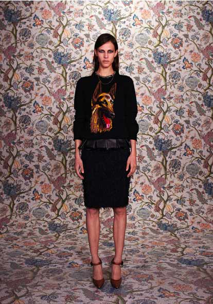 Balenciaga Pre-Fall 2011 collection, Balenciaga BELT PLI, MAILLE INTARSIA DOG PRINTED ROUND NECK SWEATER,