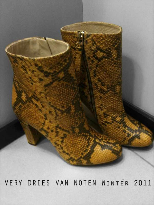 Zara leather snakeskin boots, Dries Van Noten F/W 2011-12 fashion collection, yellow snakeskin high heel boots