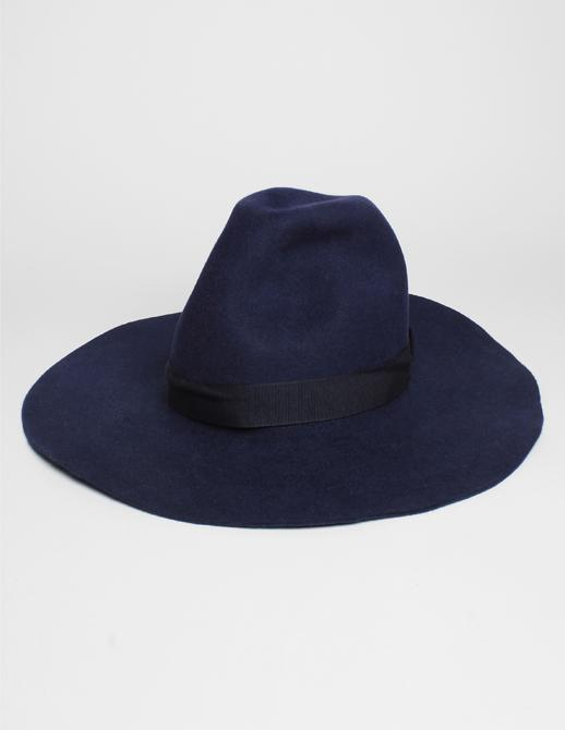 Federica Moretti Navy Wide Brim Rabbit Wool Hat