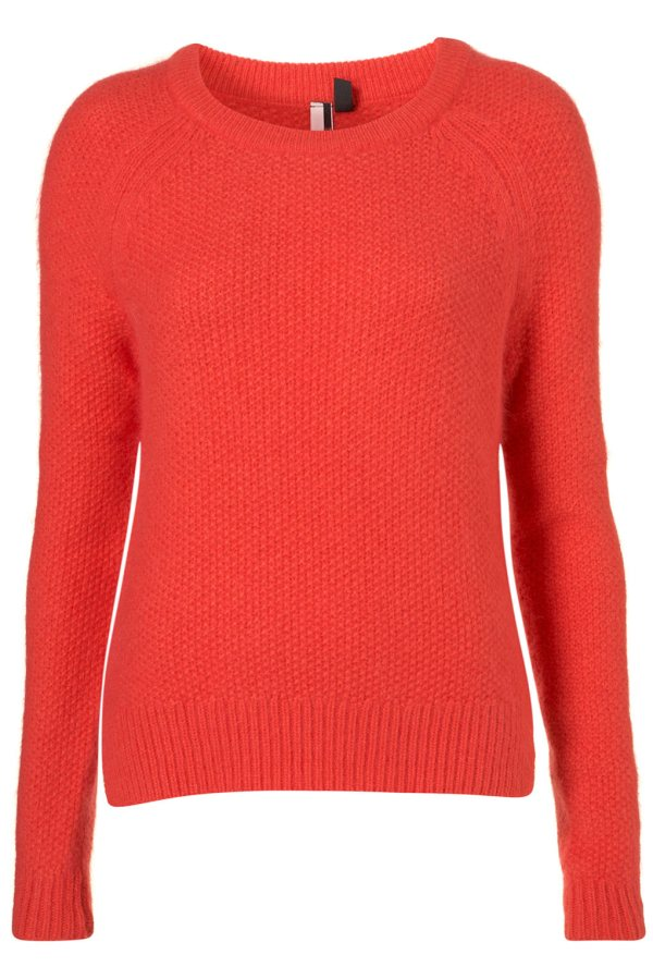 Topshop Knitted Fluffy Stitch Top in Bright Coral