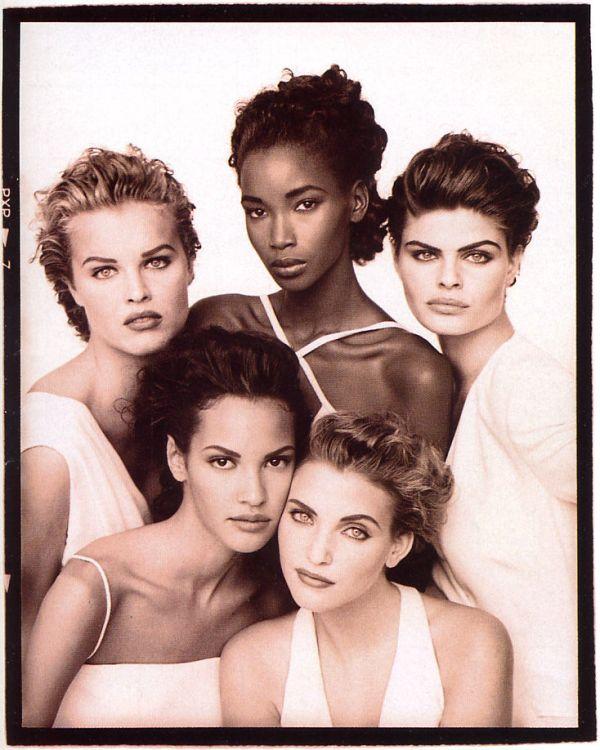 UK Vogue January 1992 cover, fashion models  Eva Herzigova, Beverly Peele, Petra Lindblad, Claudia Mason & Nadja Auermann by photographer Peter Lindbergh