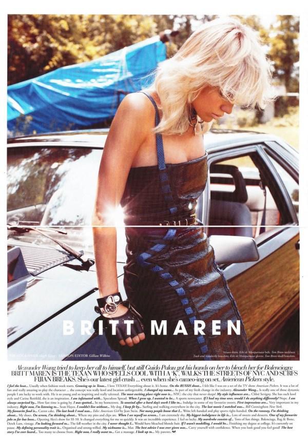 Britt Maren by Hugh Lippe Russh October/November 2011
