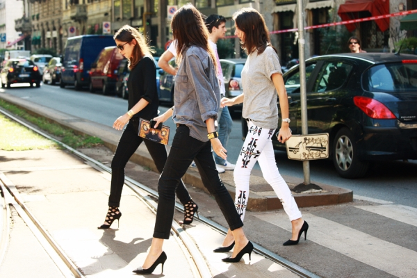 Isabel Marant Renell embroidered skinny jeans, french vogue editors emmanuelle alt Geraldine Saglio