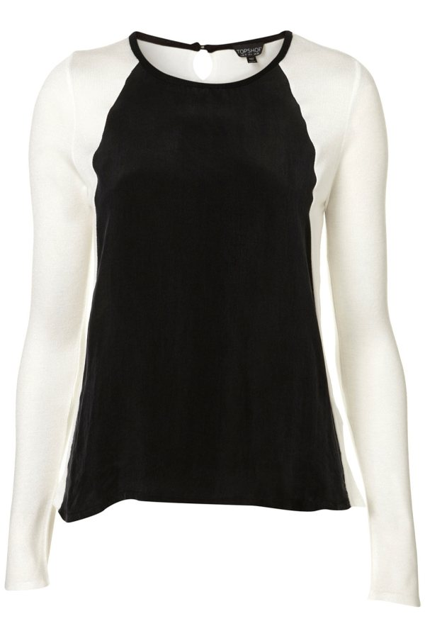 Topshop  black and white  KNITTED WOVEN FRONT JUMPER