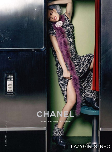 Freja Beha Erichsen for Chanel Winter 2011-2012 advertising campaign, lace up combat boots,