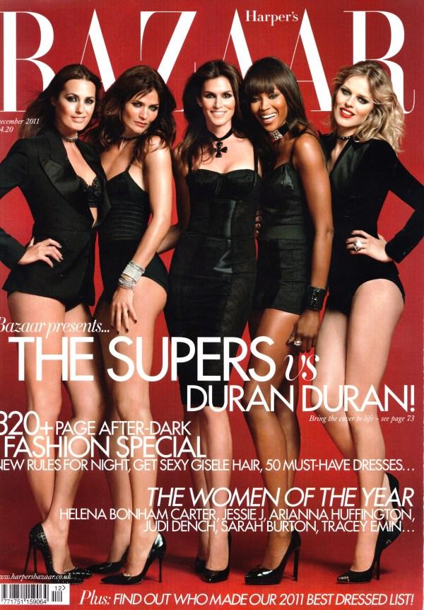 Yasmin, Helena, Cindy, Naomi Eva by Jonas Akerlund UK Harper's Bazaar December 2011