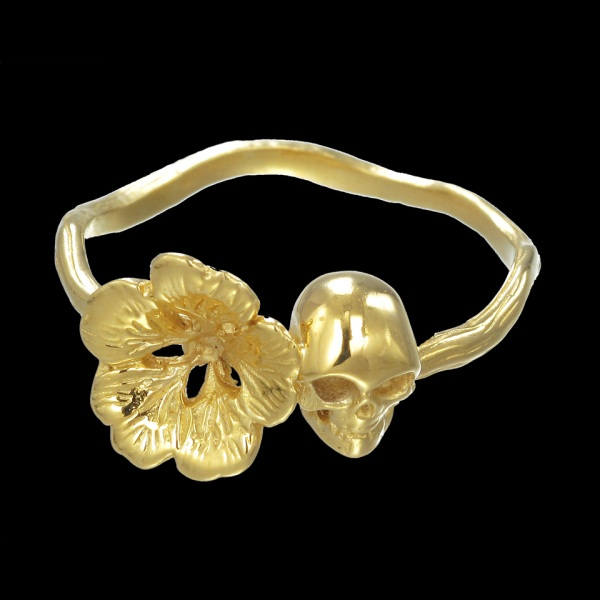Zoe and Morgan Gold Plated Skull and Flower Ring, topshop, farfetch