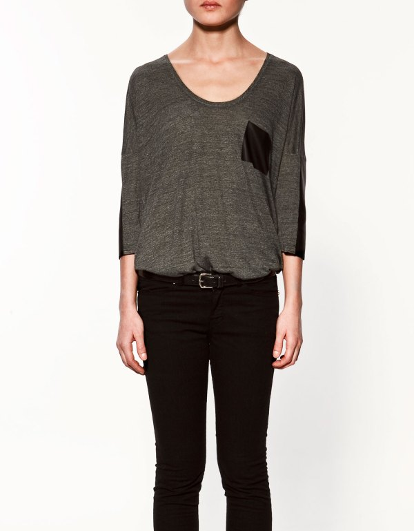 Zara Grey T-shirt with leather details