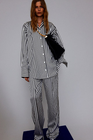 Black & White Shiny Fluid Stripe Pyjama Shirt, Black & White Shiny Fluid Stripe Pyjama Pants, Celine Resort Spring 2012, Look 24