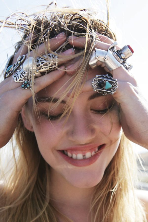 Ashely Smith by Jason Lee Parry for Oyster magazine styled by Cat Wennekamp silver rings jewellery