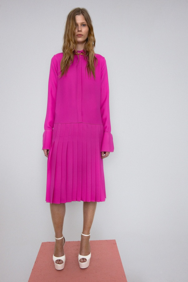 Celine Fuchsia Polished Cady Pleated Shirt Dress, resort 2012 collection