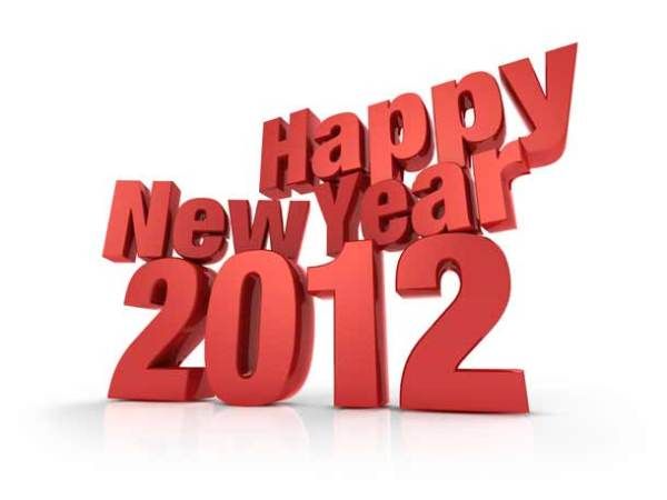 Happy New Year 2012, red 3D text in perspective view with shadow. psdgraphics.com