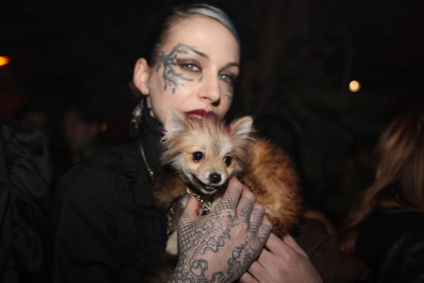 The girl with the face tattoo at Bullett Magazine party