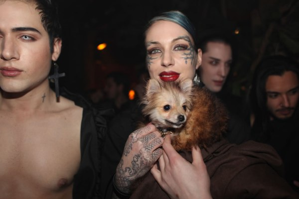 The girl with the face tattoo at Bullett Magazine party cobrasnake