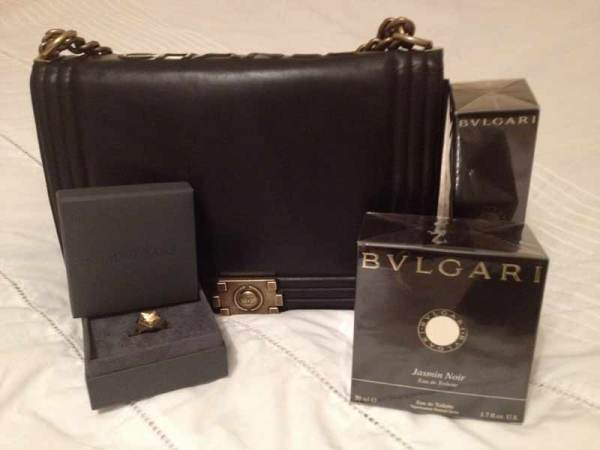 chanel boy messanger bag, bvlgari jasmin noir perfume, shaun leane bound collection star ring