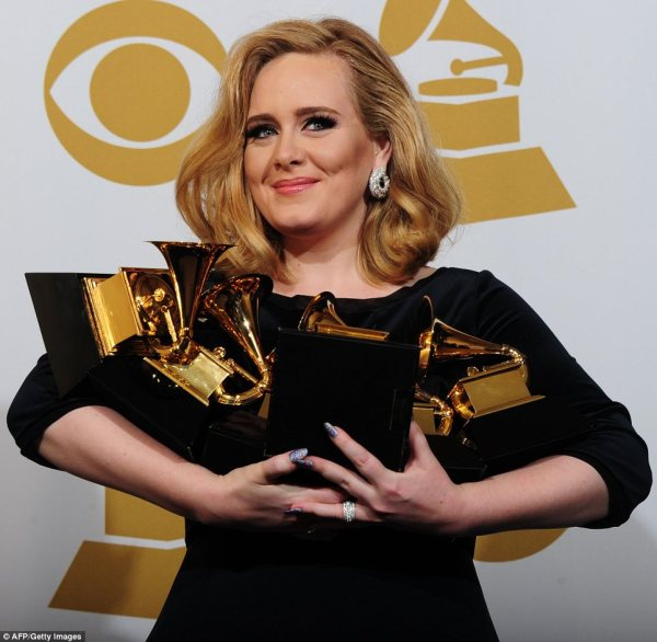 Adele with her Grammys at 2012 Grammy awards