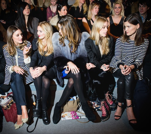Olivia Palermo and Hanneli Mustaparta Tibi Fall 2012 Show, New York in the same Tibi stripe jacket