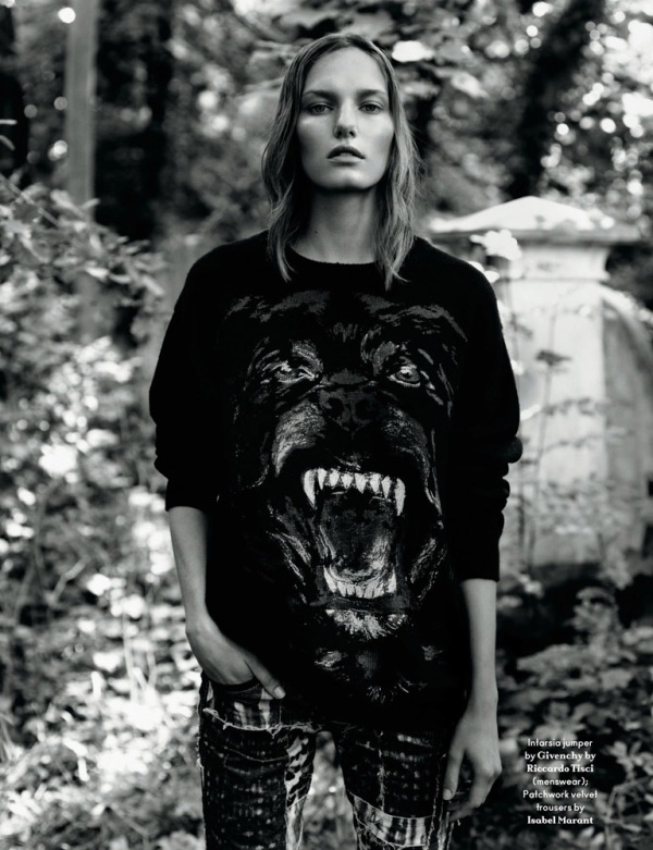 Marique Schimmel by Alasdair McLellan in Givenchy sweater AnOther Magazine Fall/Winter 2011/12