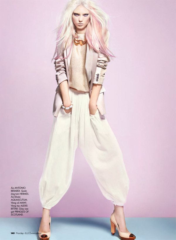 model Naty Chabanenko by photographer Kevin Sinclair Elle Vietnam April 2012 white pants trousers pastel hair