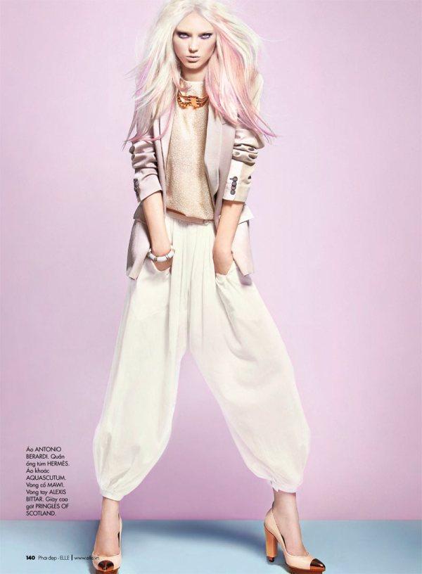 model Naty Chabanenko by photographer Kevin Sinclair Elle Vietnam April 2012 white pants trousers pastel hair