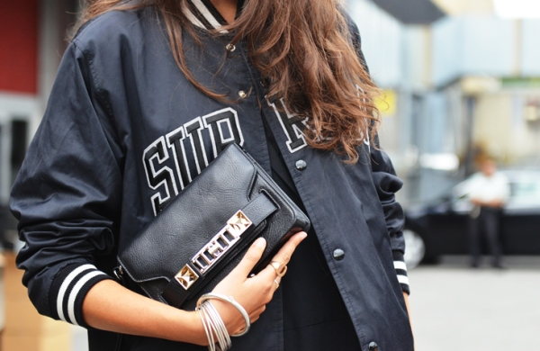 supreme baseball bomber jacket proenza schouler psII bag spotted in New York photographed by Tommy Ton