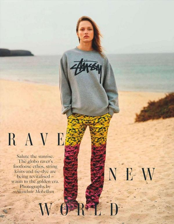 grey stussy sweatshirt, karmen pedaru, vogue  may 2012,