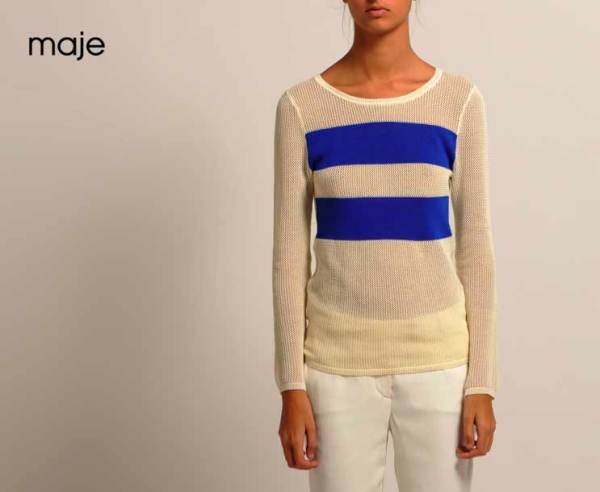 Maje mousse striped open knit sweater