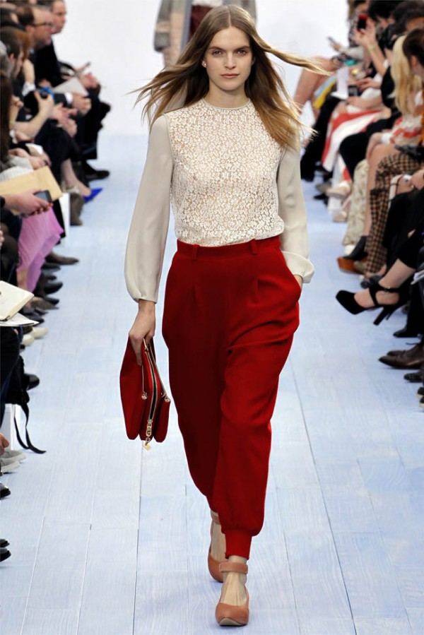 Chloe Fall/Winter 2012-2013 Letter box felted wool pants