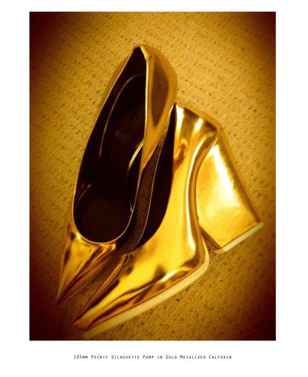 Celine 105mm Pointy Silhouette Pump in Gold Metalized Calfskin winter 2012-13 collection runway show