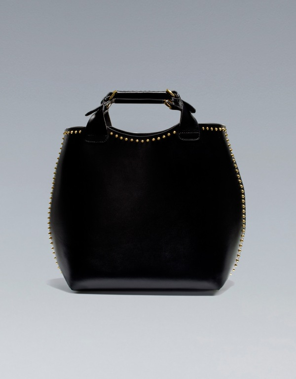 zara plaited shopper with studs black bag